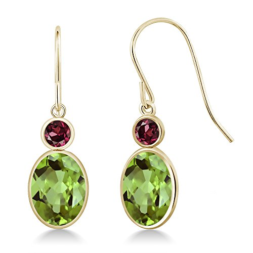 Gem Stone King 2.90 Ct Oval Green Peridot Red Rhodolite Garnet 14K Yellow Gold Earrings