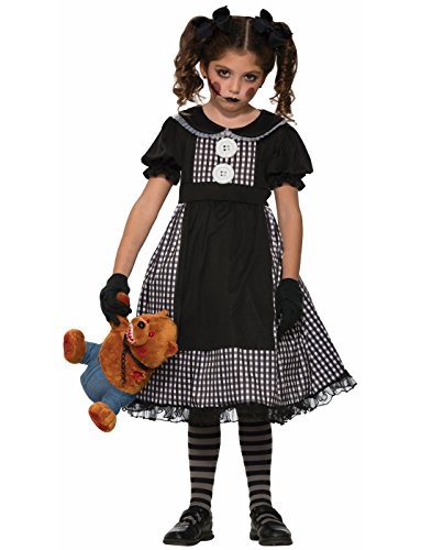 Rag Costumes Doll Gothic Child (Forum Novelties Kids Dark Rag Doll Costume, Black,)