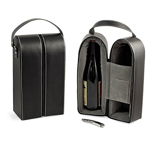 Bey-Berk Leather Wine Bottle Carrier Caddy Travel Tote Bag & Tool Set,Black - Leather Travel Caddy
