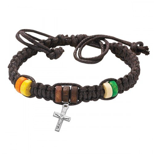 (BR550CFC BROWN CORDED BRACELET W/COLOR BEADS AND RHODIUM PLATED CRUCIFIX, CARDED)