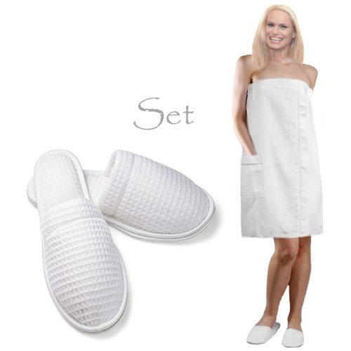 Royal Resort Collection: Luxury Lady's Wrap - Waffle Weave (Square Pattern) Bath / Spa / Body Wrap with Elegant Pocket, Color: Pure White, Size: UNIVERSAL + Closed Toe Slippers = (Square Waffle Robe)
