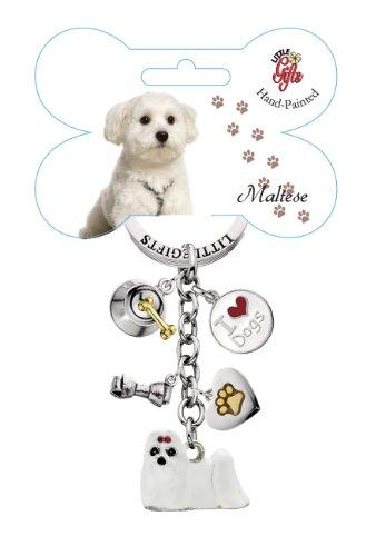 Maltese Keychain - Little Gifts Hand Painted Maltese Keychain