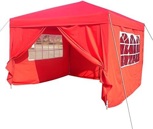 Homdox Tienda Pabellón Carpa 3M*3M con Paredes Laterales y Ventanas Plegables para Fiestas, Eventos, Boda, en Jardín o al Aire Libre, Rojo: Amazon.es: Jardín