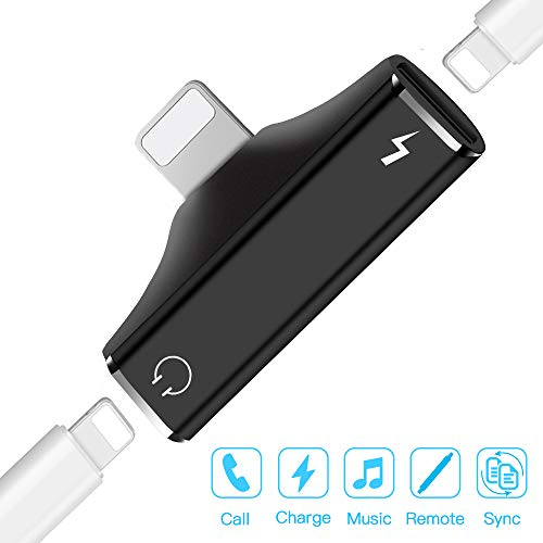 Dual Port Adapter & Splitter, 2 in 1 Headphone Audio & Charge Dongle Compatible for Phone XS, XS Max, XR, X, 8/8 Plus, 7/7 Plus, Supports i-OS 10 11 12 or Later – Black