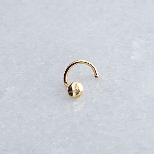 Nose Nostril Screw Hammered 14K Gold Filled Hoop Cartilage Shiny Piercing Stud GF-D3M-20GA-HH-Screw-Left 14k Gold Filled Stud