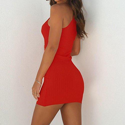 Casual Sólido Fiesta Moda Diario Ajustados Sin Elegantes Mujer Faldas Color Vestidos Shoulder Off 2018 Mangas Verano Rojo qwRO6f