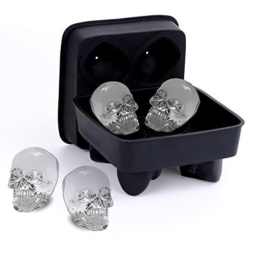 Ice Molds for Whiskey, Kmeivol 3D Skull Flexible Silicone Large Ice Cube Tray for Whiskey, The Classic Kitchen Whiskey Ice Cube Set, Makes Four Giant Skulls,Vivid Skull Mould, Black Whiskey Cube Tray