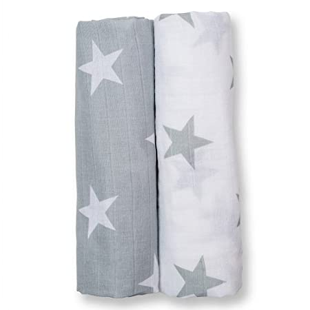 lulujo Baby Modern Me Collection 2-Piece Cotton Muslin Swaddling Blanket, Blue Arrows LJ507