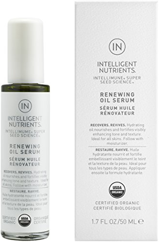 Intelligent Nutrients USDA Certified Organic Renewing Oil Serum - Facial Serum for Redness and Oily Skin, Good for All Skin Types (1.7 oz)