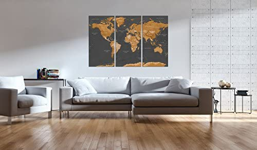 murando - Cuadro en Lienzo 60x40 cm - Mapamundi Impresión de 3 Piezas Material Tejido no Tejido Impresión Artística Imagen Gráfica Decoracion de Pared Mapa del Mundi k-A-0104-b-g: Amazon.es: Hogar