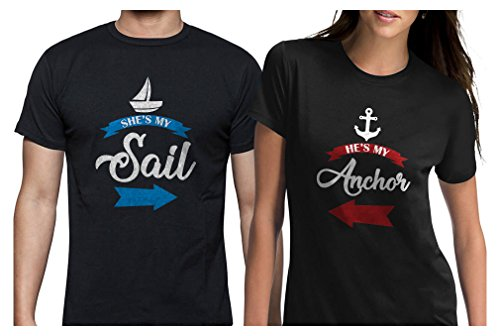 She's My Sail He's My Anchor Matching Couples T-Shirts My Sail Black XX-Large/My Anchor Black X-Large (Dad T-shirt Super Black)