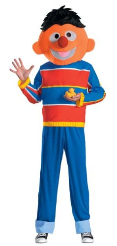 Disguise Men's Sesame Street Ernie Costume, Red/Blue/Tan/Black, Medium