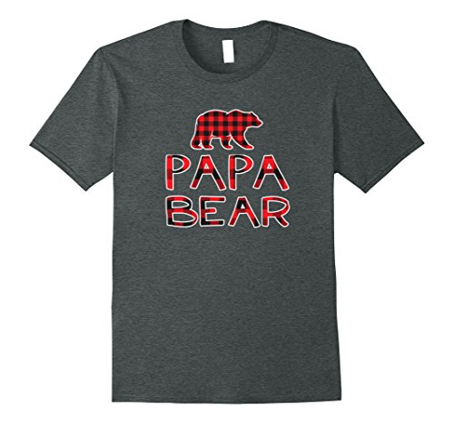 Papa Bear Flannel - Mens Papa Bear Red plaid Flannel T-Shirt XL Dark Heather
