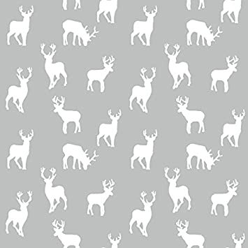 Curtains Ideas christmas curtain fabric : Christmas Stag Silver Cotton Curtain Fabric 140cm x 1 metre ...