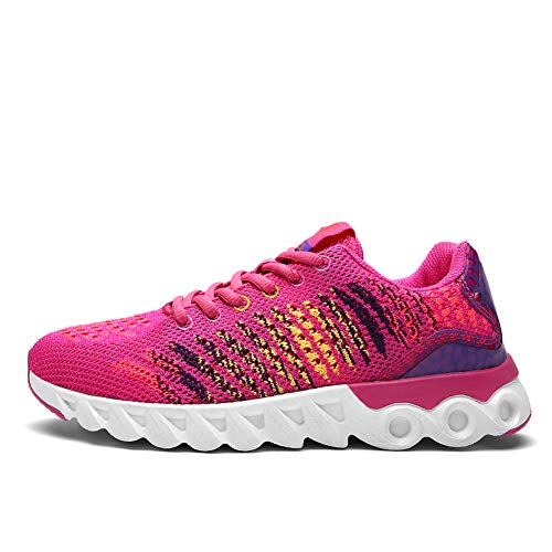 Gimnasio Mujer Unisex Sneakers Transpirables para Zapatos Rose Deportivas Hombres Running Red Deporte Casual dXvwpnHq