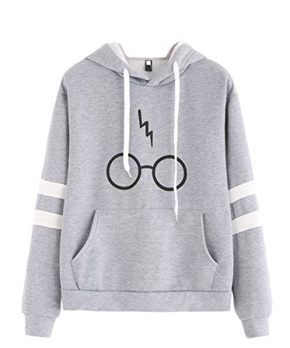 Lightning Fleece Hoodie - Oeyal Women's Fleece Pullover Hoodie Glasses Lightning Printed Hooded Sweatershirt, Gray, Small