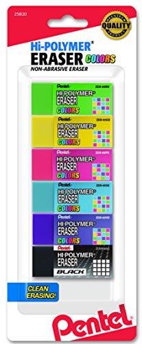 Pentel Hi Polymer Eraser Assorted ZEH05CRBP6M