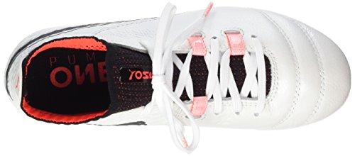 Puma One 17.1 FG Jr, Scarpe da Calcio Unisex-bambini Bianco (White-black-fiery Coral)