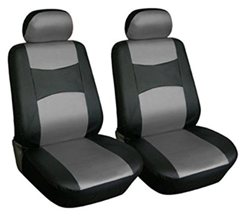 OPT Brand. Vinyl Leather 4PC SET Toyota Corolla Prius Highlander Camry 4Runner Land Cruiser Avalon Yaris RAV4 Prius C V 2 Front Car Auto Seat Covers, Black/Gray Color, O7159-BK/GRY