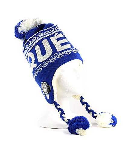 Robin Ruth - Royal Blue Quebec Pom Pom Tuque With Fur