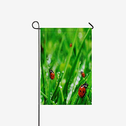 Flag Ladybugs Banner (TAOGAN Double-Sided Garden Flag House Banner Ladybugs on Fresh Green Grass Water Drops, Decorative Yard Flag for Wishing Party Home Outdoor Decor, Polyester 28