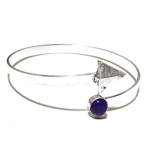 Awesome! Blue Dyed Sapphire Sterling Silver Overlay 10 GramsBangle/Bracelet Free Size by Shivi