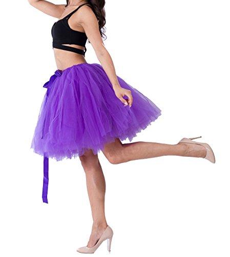 Femme Vintage Ballet Tutu Jupe en Tulle au Genou Multi-couche Pettiskirt Princesse Haute Taille Violet