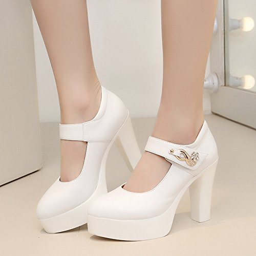 Trendy Heels Velcro Court Toe High Women's Platform White Chunky Aisun Pointed Shoes 856Iq