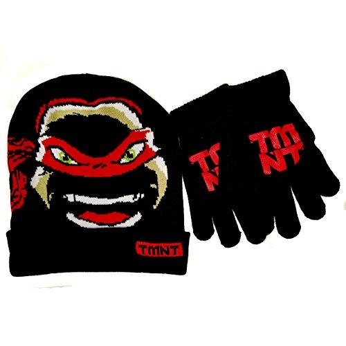 Teenage Mutant Ninja TMNT Raphael Boys' Beanie Winter Hat and Glove Set - Size 4-14 [4014] (Winter Hat Tmnt)