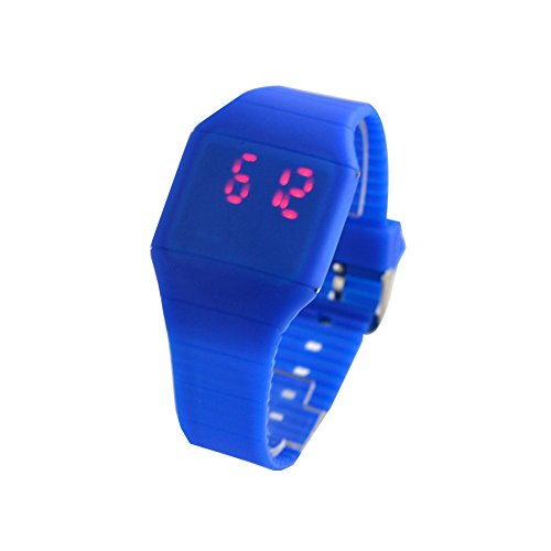 Eternity J. Weave Wrap Around Leather Bracelet Touch Screen Red Digital Light Plastic LED Wrist Watch Deap Blue