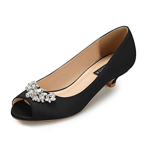 ERIJUNOR E0111 Women Comfort Low Kitten Heels Rhinestones Peep Toe Wedding Evening Party Shoes Dress Pumps Black Size 6 ()