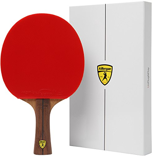 - Killerspin JET800 Speed N1 Ping Pong Paddle - Professional Table Tennis Paddle| 7-Ply Wood/Carbon Fiber Blade, Nitrx Rubbers| Flared Handle Ping Pong Racket| Memory Book Gift Box Storage Case