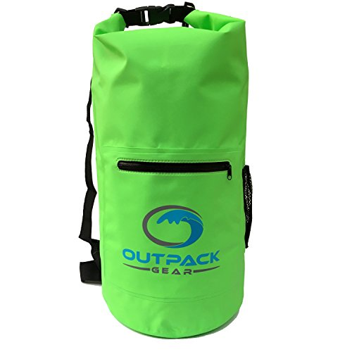 Outpack Gear Dry Bag Waterproof Backpack | Lightweight Daypack Sports Sackpack | Roll Top, Zip Pocket, Water Bottle Holder, Shoulder Straps | Kayaking Beach Boating Gym Hiking Swim Camping | Green 20L