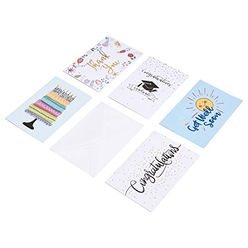 AmazonBasics All Occasion Greeting Cards, 48 Cards and Envelopes