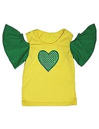 Leaf Sison Brazil Theme Yellow Green Bare Shoulder Shirt Girl Blouse 1-8y
