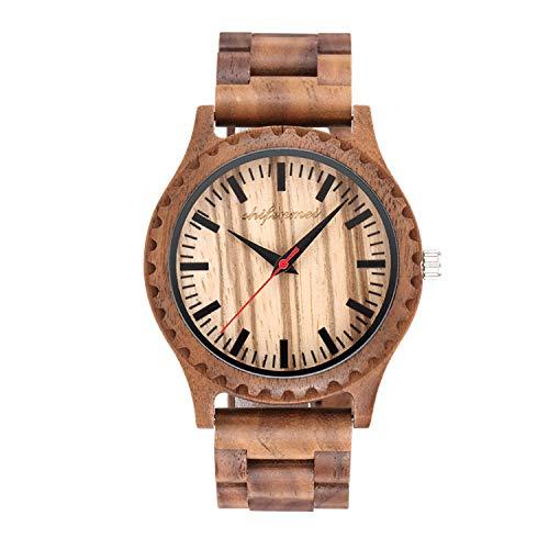 HWCOO Hermosos Relojes De Madera SHIFENMEI Zebra Wood Reloj para Hombre Sandalwood Vintage Table (Color