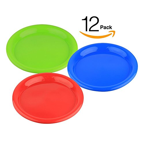 12 Plates Reusable Luncheon Tableware Assorted