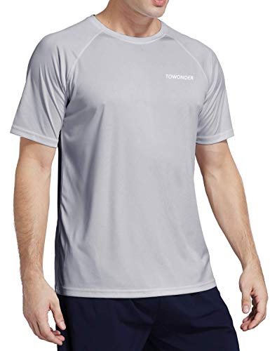 Mens Short Sleeve Workout Shirts Dry Fit Loose Fit Performance Running T Shirts UPF 50+(Gray,L)
