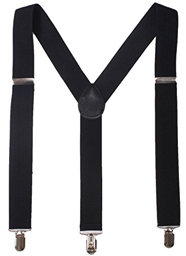 BODY STRENTH Black Mens Suspenders with Clips Braces Regular 46