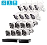 SHO 8 Pack 720P HD Weatherproof sPoE Security Camera w/8CH sPoE Repeater for Power & Data Transmission, Remote Monitoring,Free 6-Month Cloud Service for Recording(Activation Code: FISH1C08)