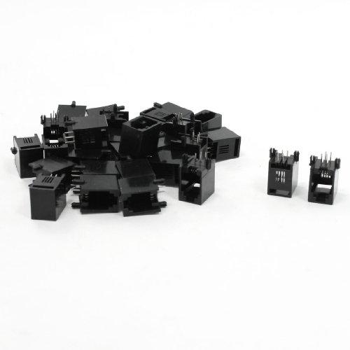 uxcell 30 Pcs RJ9 RJ10 RJ22 4P4C PCB Jacks Female Connectors for Handset Coiled Cord