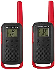 Motorola Talkabout T62 PMR-Radioapparatuur (Set Van 2, PMR446, 16 Kanalen En 121 Codes, Bereik 8 Km), 16.5 x 5.4 x 3.1 cm, Rood