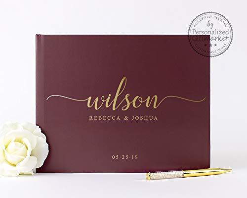Burgundy and Gold Wedding Guest Book with Blank or Lined Pages, Personalized Photo Album or Journal - Hardcover (10x8 inches)