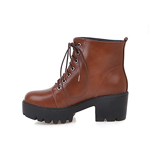 BalaMasa Womens Lace-Up Platform Solid High-Heel Mid-Top Urethane Boots ABL09702 Brown 4vmGfYhJ54