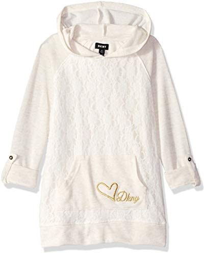 - DKNY Girls' Little Hooded Long Sleeve Lace Overlay Top, Oatmeal Heather, 6X