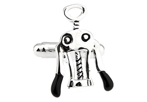 MRCUFF Wine Bottle Corkscrew Opener Pair Cufflinks in a Presentation Gift Box & Polishing Cloth