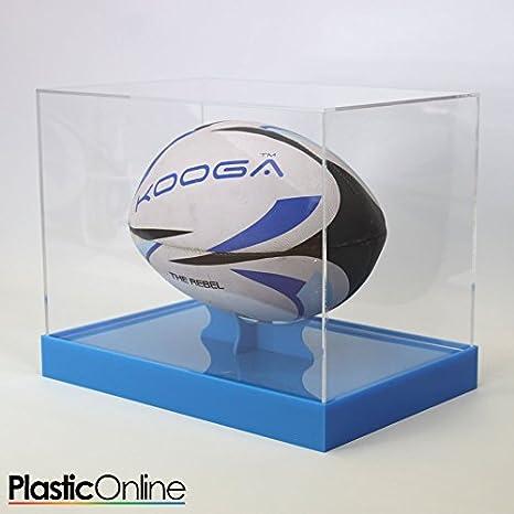Balón de Rugby vitrina horizontal – azul base: Amazon.es: Deportes ...