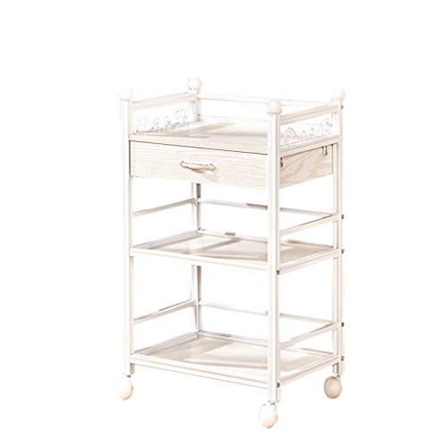 Qfghi Beauty Trolley, Three Floors with Drawer Beauty Salon Barbershop Dedicated Instrument Trolley, Tattoo Manicure Assembly Small Cart -Service Carts (Color : Oak White) ()