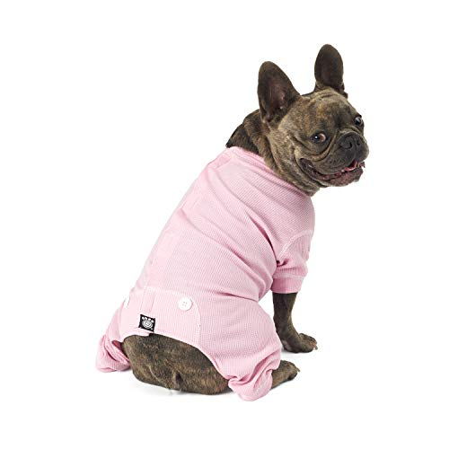 PetRageous Cozy Thermal Pajamas for Pets, Medium, Pink with White Stitching