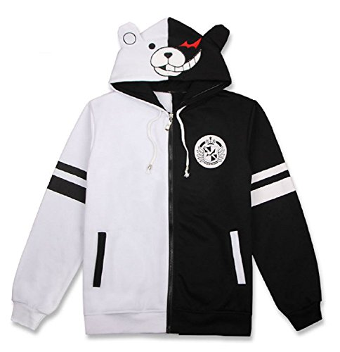 GK-O Danganronpa Monokuma Black and White Bear Hoodie Jacket Cosplay Costume (X-Large) -